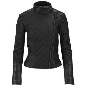 Knutsford Women's Leather Trim Wax Cotton Biker Jacket - Black