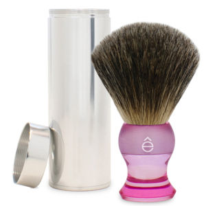 eShave Travel Fine Badger Hair Shaving Brush with Canister (Pink)