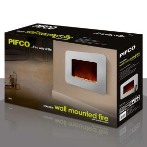 Pifco Wall Mounted Mirrored Fire with Pebble