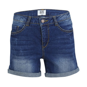 Vero Moda Women's Brix Turn Up Denim Shorts - Mid Wash