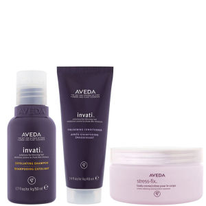 Aveda Invati Shampoo and Conditioner (Travel Sizes) with Stress Fix Body Cream