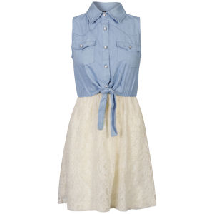 Influence Women's Chambray and Lace Tie Front Dress - Chambray/Cream