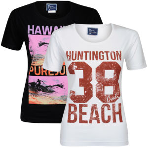 Pure Juice Women's 2 Pack Hawaiian & Huntingdon Beach Graphic T-Shirt - Black/White