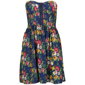 Influence Women's Bandeau Floral Dress - Blue/Multi