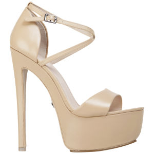 KG Kurt Geiger Women's Nanette Leather Heeled Platform Sandals - Nude