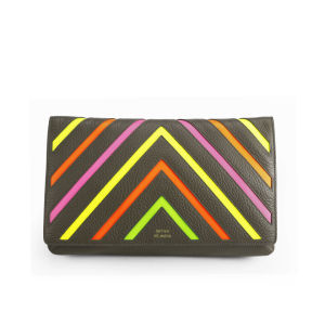 Matthew Williamson Women's Nomad Neon Stripe Leather Clutch Bag - Grey