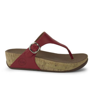 FitFlop Women's Skinny Cork Leather Sandals - Red