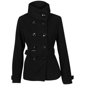 Brave Soul Women's Bellflow Funnel Neck Coat - Black