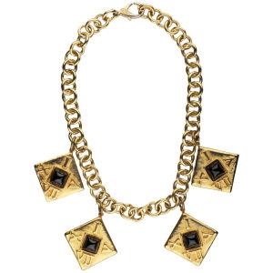 Susan Caplan Vintage Escada Gold Tone Roam Numeral Charm Necklace