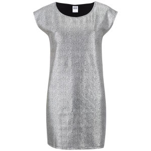 Vero Moda Women's Uru Short Sleeve Metallic Foil Dress - Silver