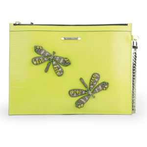 Matthew Williamson Women's Nomad Dragonfly Pouch Leather Clutch Bag - Chartruese Lizard