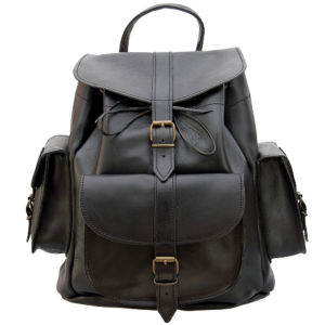 Grafea Show Business Medium Leather Rucksack- Black
