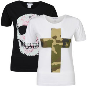 Taylor Women's 2-Pack Flower Skull & Camo Cross Graphic T-Shirts - Black & White