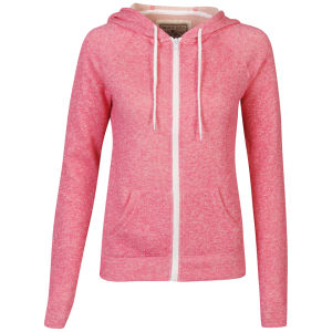 Brave Soul Women's Benny Zip Through Hoody - Coral Pink