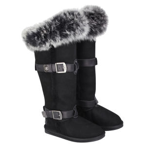 Australia Luxe Women's Tsar Extra Tall Sheepskin Fox Fur Boots - Black