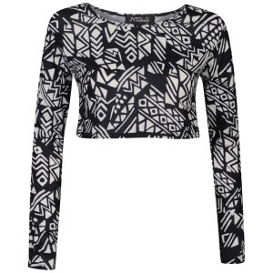 Influence Women's Long Sleeved Aztec Crop Top - Black/White