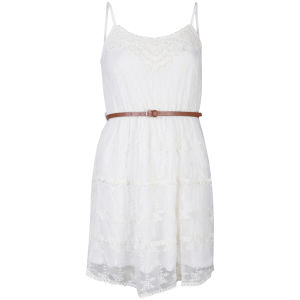 Nova Women's Lace Crochet Belted Festival Dress - Ivory
