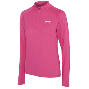 Asics Women's Long Sleeve 1/2 Zip Running Top - Magenta