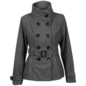 Brave Soul Women's Bellflow Funnel Neck Coat - Dark Grey