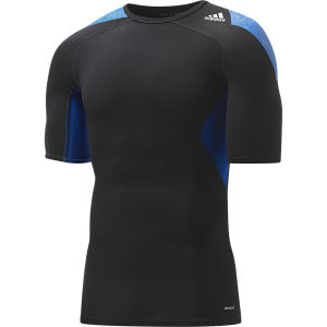 adidas Men's Tech Fit Cool Short Sleeve Compression Top - Black