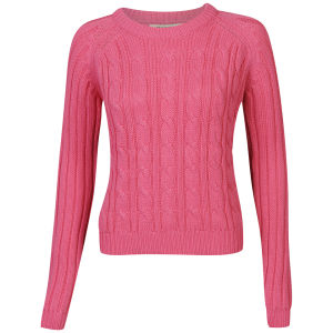 Brave Soul Women's Cable Crew Neck Jumper - Pink
