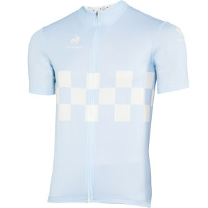 Le Coq Sportif Men's Cycling Performance Short Sleeve Checkered Jersey - Aquamarine