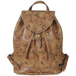 Zatchels Printed Leather Duffel Bag - Tan Floral