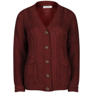 Moku Women's Long Sleeve Cable Knit Cardigan - Claret