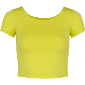 Glamorous Women's Cap Sleeve Crop Top - Yellow