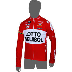Lotto Belisol Team Replica Long Zip Long Sleeve Jersey - Red 2014