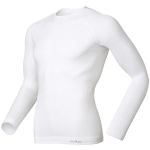Odlo Men's Evolution Warm Long Sleeve Crew Neck Base Layer - White