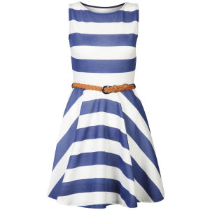 Club L Women's Striped Sleeveless Belted Skater Dress - Royal Blue/White