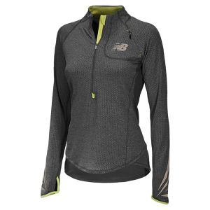 New Balance Women's NBX Boylston Half Zip Top - Black/Lemon