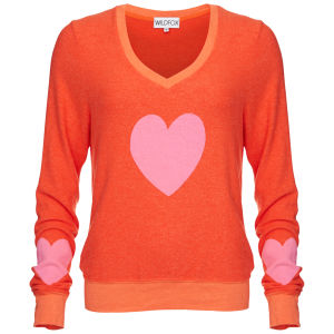 Wildfox Women's Happy Heart Baggy Beach V Neck Jumper - Valley Heat
