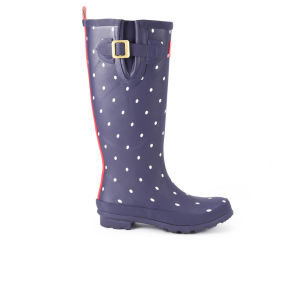 Joules Women's Welly Print Wellies - Navy Spot