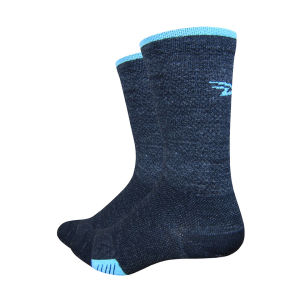 DeFeet Cyclismo Wool 5 Inch Cuff Socks - Charcoal Black/Blue