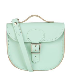 Brit-Stitch Leather Half Pint Shoulder Bag - Grayed Jade (Strap On Back)