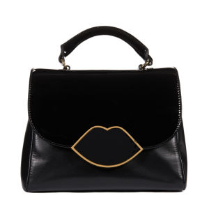 Lulu Guinness Izzy Small Leather Izzy Lips Satchel - Black