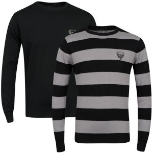 Ringspun Men's 2-Pack Hope Crew Neck Jumper - Solid Black/Black Stripe