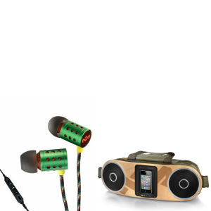 The House of Marley Bag of Rhythm Portable Audio System & Midnight Ravers Earphones with Mic - Rasta