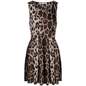 Brave Soul Women's Leopard Print Skater Dress - Stone