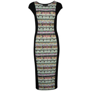 Damned Delux Women's Aztec Panel Midi Dress - Mint/Pink