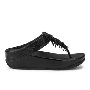 FitFlop Women's Cha Cha Fringed Leather Sandals - Black