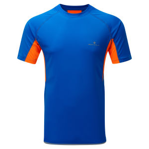 RonHill Men's Advance Short Sleeve Running T-Shirt - Electric Blue/Orange