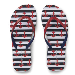 Dunlop Women's Nautical Flip Flops - Red