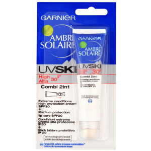 Garnier Ambre Solaire UV Ski Combi 2-in-1 SPF 30 Sun Cream with SPF 20 Lip Balm