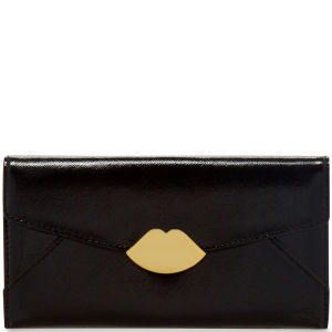 Lulu Guinness Women's Large Trifold Cross Hatched Leather Wallet - Black