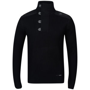 Benzini Men's Function Button Neck Knit - Black