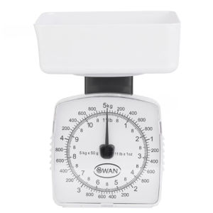Swan 5kg White Kitchen Scales