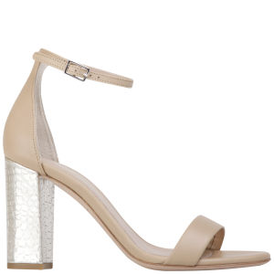 Kurt Geiger Women's Isabella Leather/Croc Print Heeled Sandals - Nude/Metallic